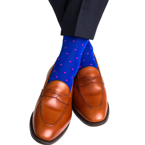 Clematis Blue With Rose Dot Mid Calf Socks by Dapper Classics
