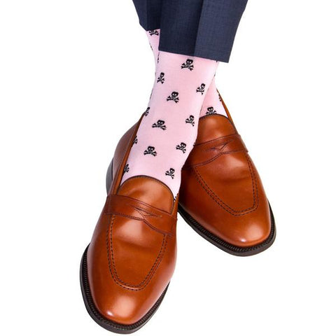 Pink With Black Skull and Crossbones Mid-Calf Socks by Dapper Classics