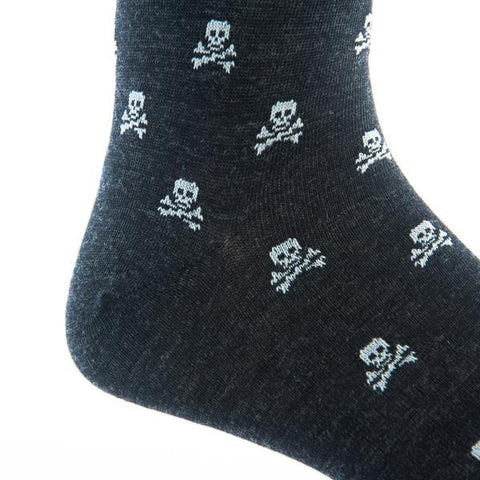 Charcoal With Ash Skull and Crossbones Mid-Calf Wool Socks by Dapper Classics
