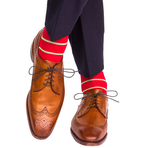 Red with Green Stripes OTC Sock by Dapper Classics