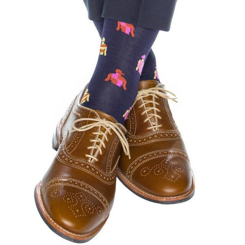 Classic Navy With Jockey Silk Mid-Calf Socks by Dapper Classics