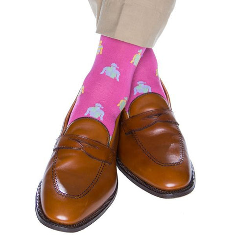 Rose With Jockey Silk Mid-Calf Socks by Dapper Classics