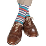 Indigo Blue, Cream, Ceramic, Tigerlily Orange, and Tan Quad Stripe Mid-Calf Socks by Dapper Classics