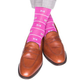 Rose and White Stripe with Blue and Green Bow Tie Mid-Calf Sock by Dapper Classics