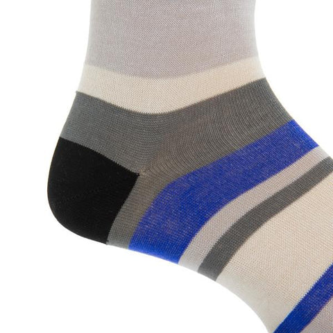 Black, Cream, Steel Gray, Ash, and Clematis Blue Quad Stripe Mid-Calf Socks by Dapper Classics