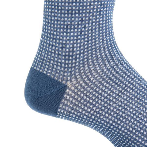 Indigo Blue and White Grenadine Mid-Calf Socks by Dapper Classics