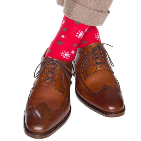 Snowflakes Merino Wool OTC Socks in Red with White & Green by Dapper Classics