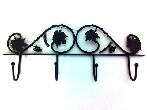 Coat Hook With 4 Hooks Black Vintage Chic