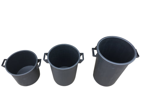 Mr Bucket Man 3pc Plasterers Mixing Buckets 35,50&75L or 1,2&3 bag mix Black