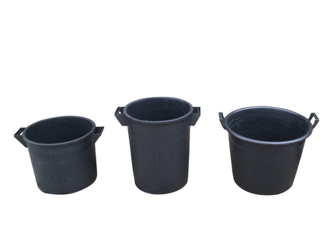 Mr Bucket Man 3pc Plasterers Mixing Buckets 35,50&65L or 1,2&3 bag mix Black