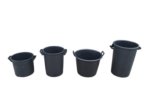 Mr Bucket Man 4pc Plasterers Mixing Buckets 35,50,65 & 75L Black