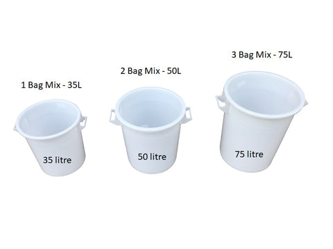 Mr Bucket Man 3pc Plasterers Mixing Buckets 35,50&75L or 1,2&3 bag mix White