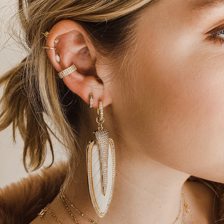 Small Corrugated Beads hoop earrings Gold Silver Bronze Brown Art deco hoops Cool Antique style hoops Layered earrings Statement earrings