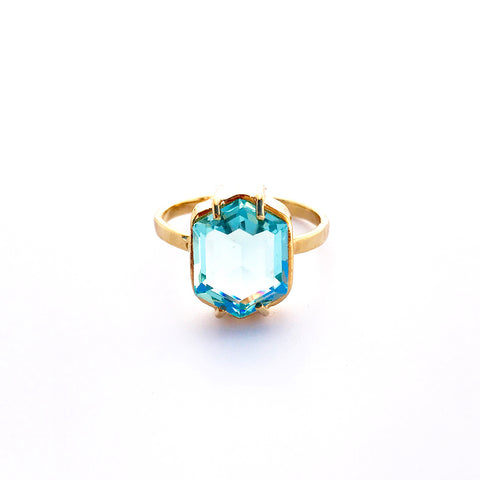 Hexagon Crystal Ring in Aqua by Erin Fader Jewelry