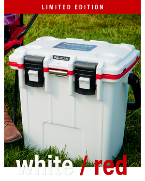 Limited Edition White/Red Pelican Elite Cooler