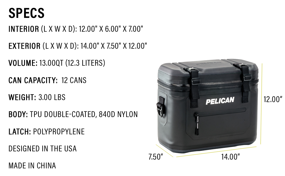 12-Can Pelican Elite Soft Cooler Specs