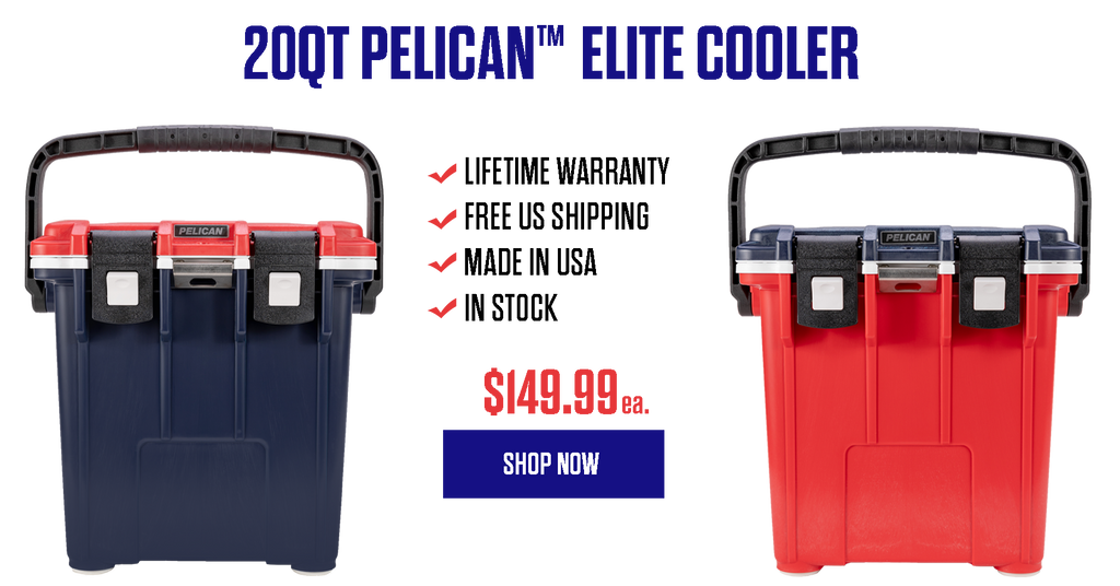 20QT Red, White & Blue Pelican Elite Cooler