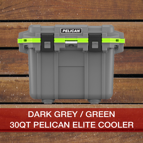 Add to cart 30QT Dark Grey/Green Pelican Elite Cooler