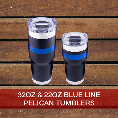 Buy now Blue line 22oz & 32oz Pelican Tumblers