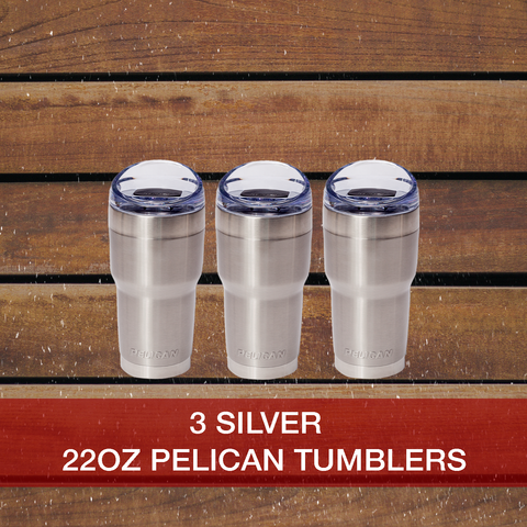 Buy now 3: Silver 22oz Pelican Tumblers