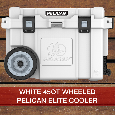 Add to cart White 45QT Wheeled Pelican Elite Cooler