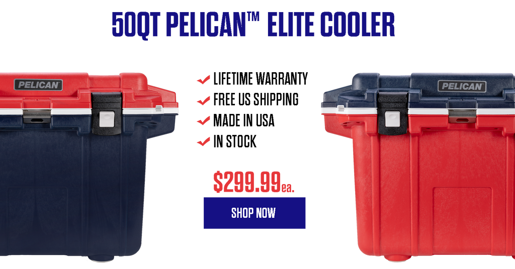 50QT Red, White, & Blue Pelican Elite Cooler