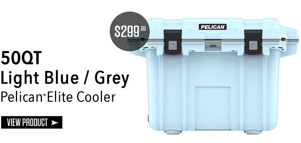 50Qt Pelican Elite Cooler Light Blue/Grey