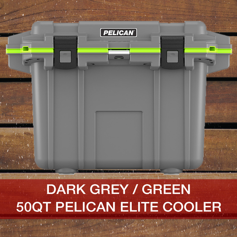Add to cart 50QT Dark Grey/Green Pelican Elite Cooler