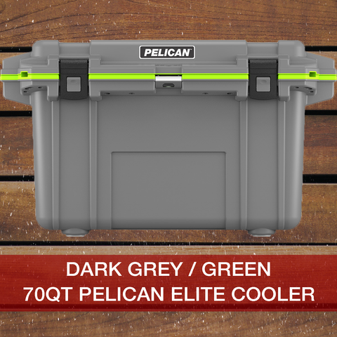Add to cart 70QT Dark Grey/Green Pelican Elite Cooler