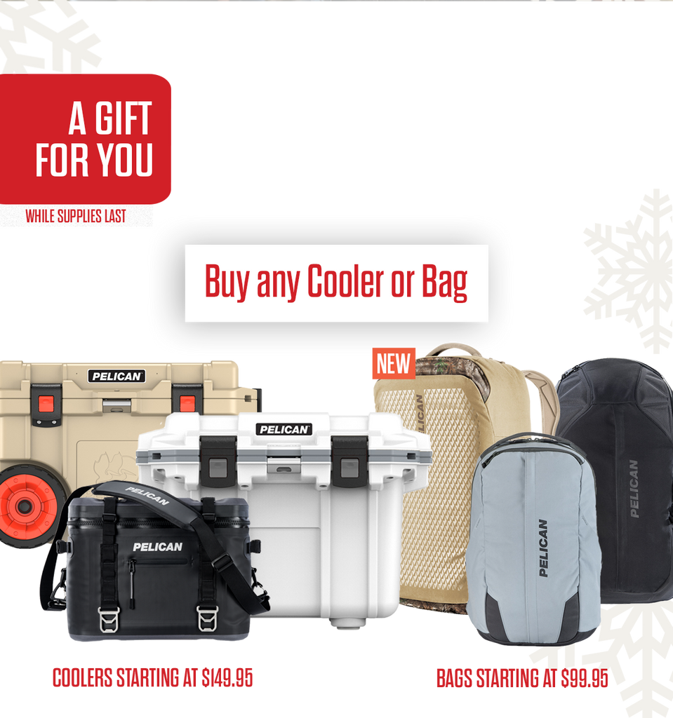 Buy any pelican cooler or bag get two free items.