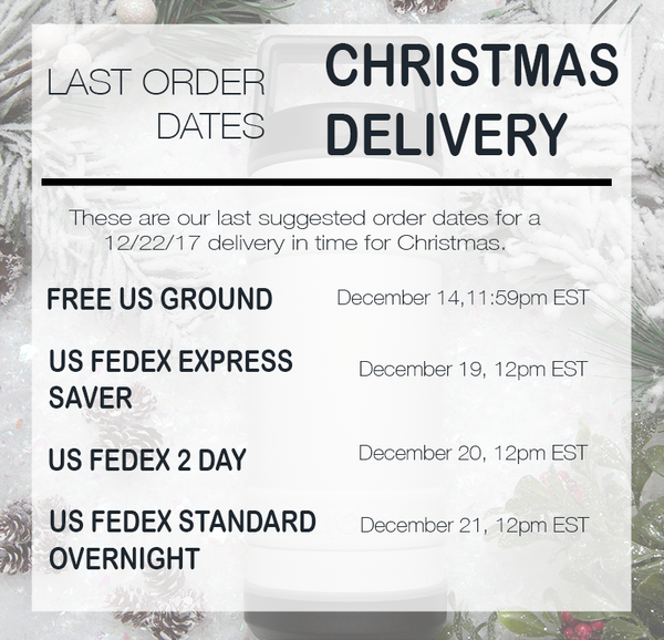 Last order dates for a Christmas delivery