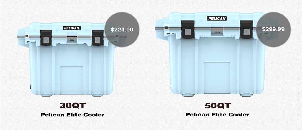 Light Blue / Grey Pelican Elite Coolers