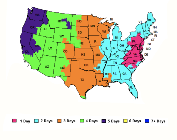 Shipping map from pelicancoolers.com