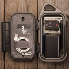 Pelican G40 Go™ Case Inside with cell phone, credit cards, cash, ear phones, and more!