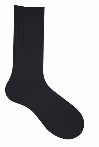 10001 Mens Socks - Solid Cotton Ribbed Ank