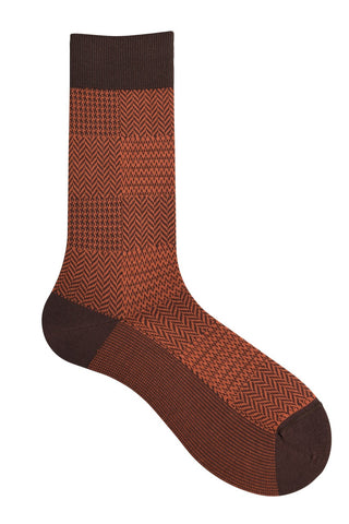 10184 Mens Socks - Neat Check Cotton Blend Ank