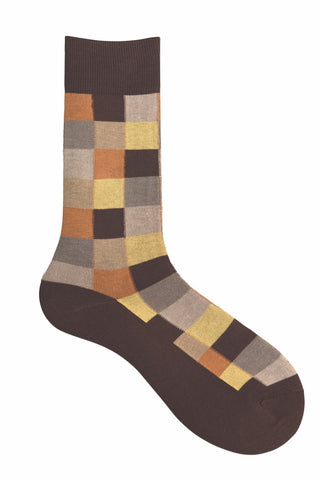 10185 Mens Socks - Checkered Cotton Blend Ank