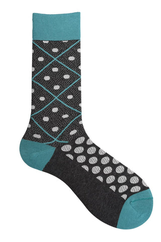 10186 Mens Socks - Dotted Argyle Cotton Blend Ank