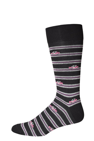 10310 J.M. Dickens Mens Socks - CARS ON A STRIPE Cotton Blend Ank