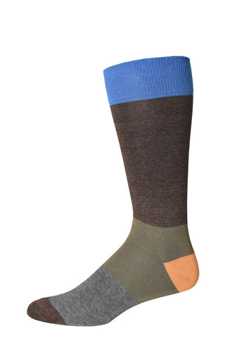 10314 J.M. Dickens Mens Socks - Block Stripe Cotton Blend Ank