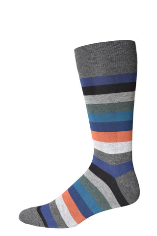 10322 J.M. Dickens Mens Socks - Bold Stripe Cotton Blend Ank