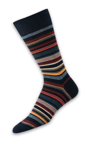 303250 PUNTO Mens Socks - Multi Color Stripe Ank