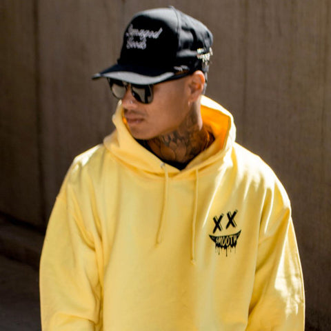 Soft Yellow Hoodie / Smile Black