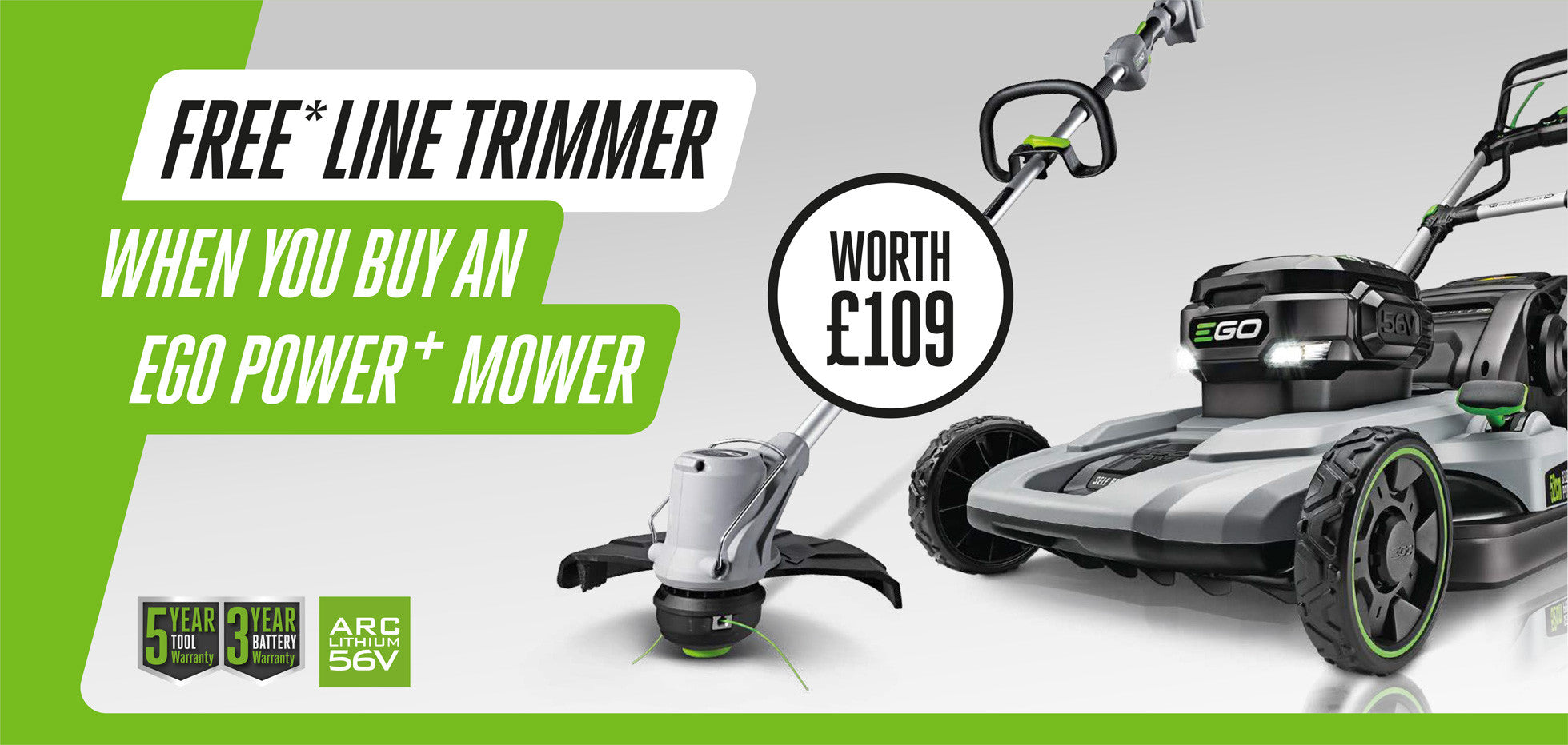 FREE* LINE TRIMMER WORTH £109 WHEN YOU BUY AN EGO POWER+ SELF-PROPELLED MOWER