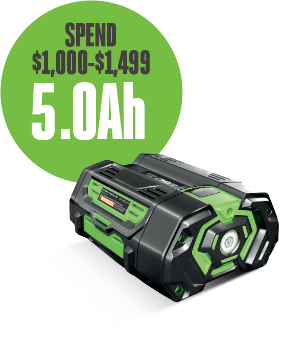Spend $1,000-$1,499, receive a 5.0Ah battery