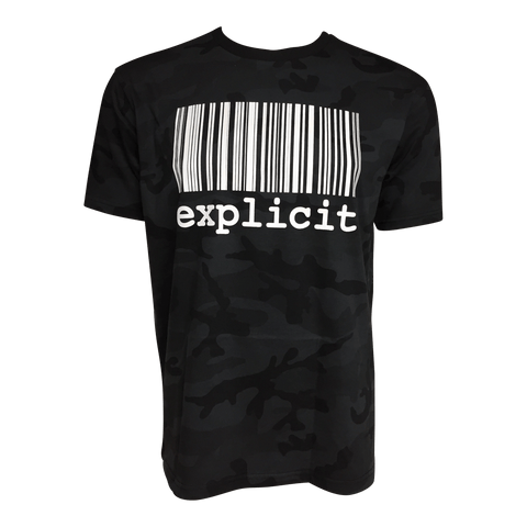 t-shirt explicit Black camo