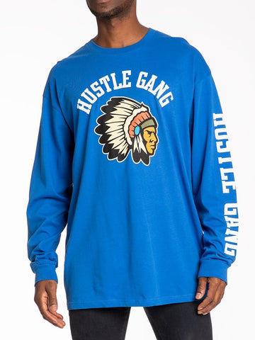THE HUSTLE GANG WARRIOR L/S TOP IN HEATHER BLUE