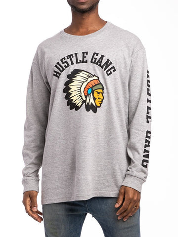 THE HUSTLE GANG WARRIOR L/S TOP IN HEATHER GREY