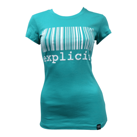 T-shirt Explicit Code Barre Aqua
