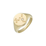 14k yellow gold diamond signet pinky ring